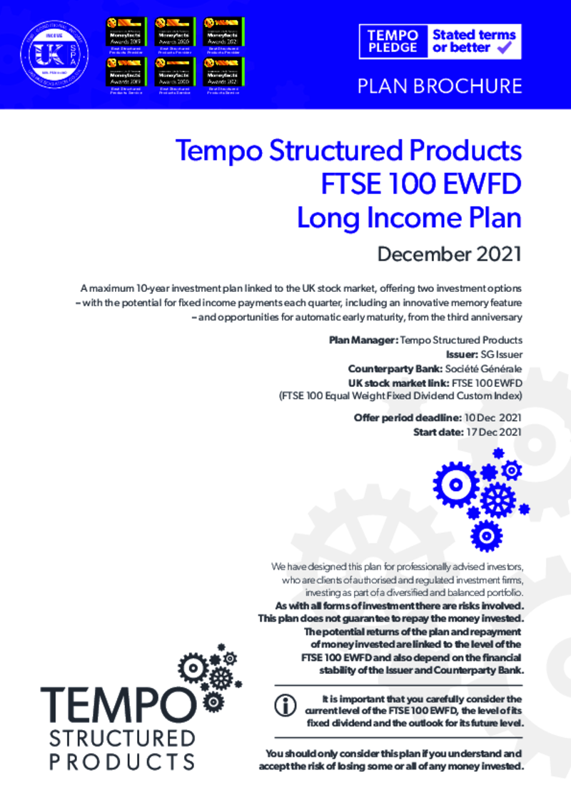 Tempo FTSE 100 FDEW Long Income Plan: January 2021 - Option 2