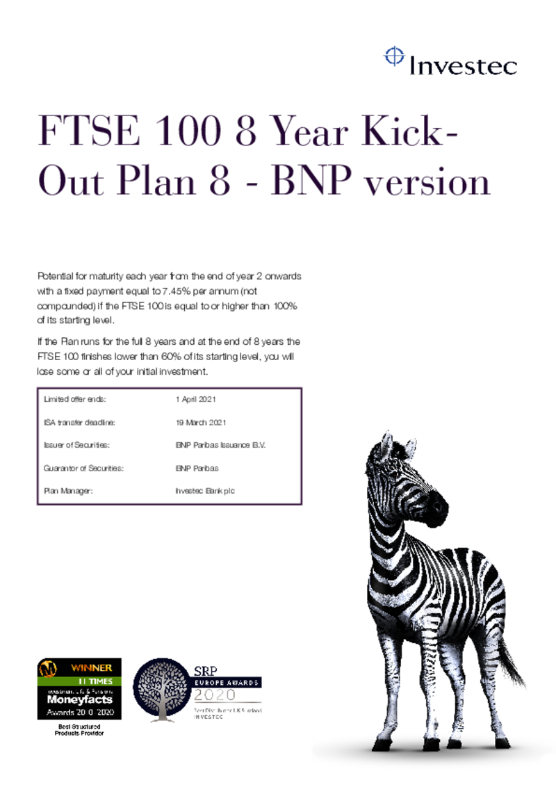 Investec FTSE 100 8 Year Kick-Out Plan 6 - BNP Version