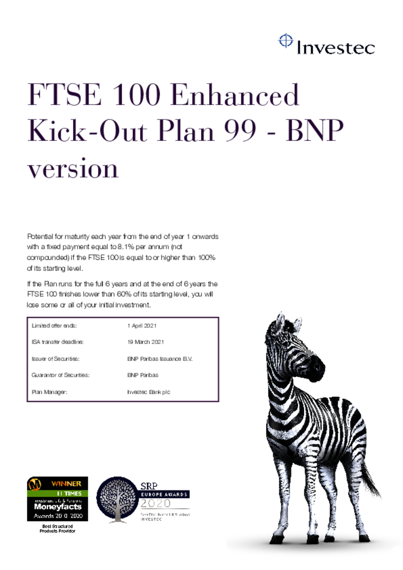 Investec FTSE 100 Enhanced Kick-Out Plan 97 - BNP Version