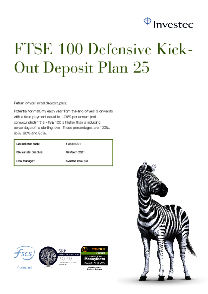 Investec FTSE 100 Defensive Kick Out Deposit Plan 20