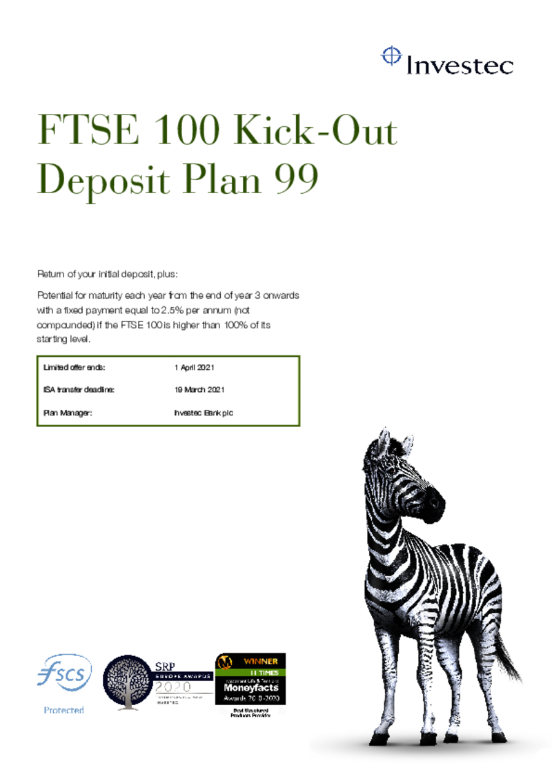 Investec FTSE 100 Kick-Out Deposit Plan 94