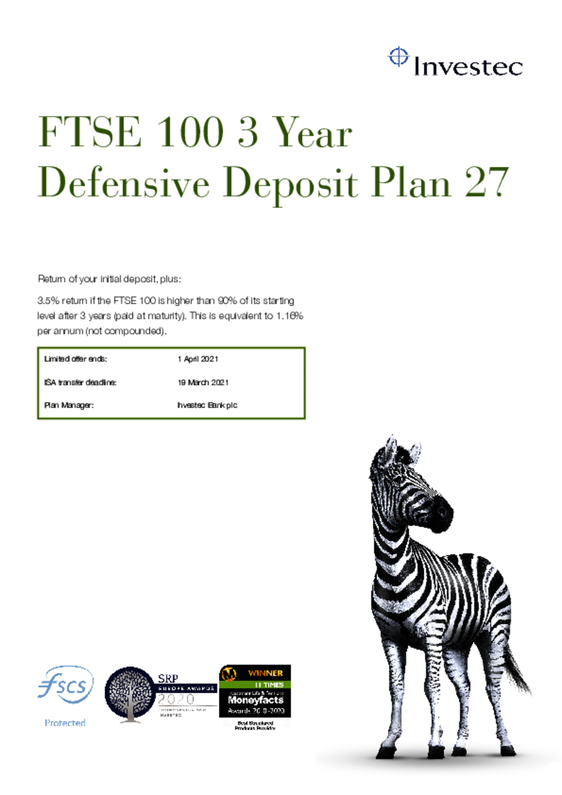 Investec FTSE 100 3 Year Defensive Deposit Plan 27